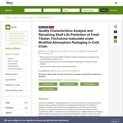 FOODS 22/04/19 Quality Characteristics Analysis and Remaining Shelf Life Prediction of Fresh Tibetan Tricholoma matsutake under Modified Atmosphere Packaging in Cold Chain
