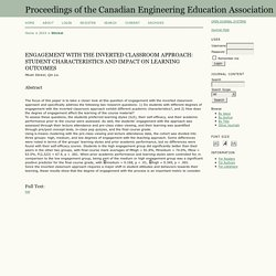 ENGAGEMENT WITH THE INVERTED CLASSROOM APPROACH: STUDENT CHARACTERISTICS AND IMPACT ON LEARNING OUTCOMES