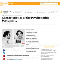 Characteristics of the Psychopathic Personality