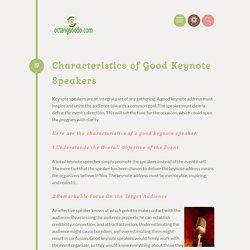 Characteristics of Good Keynote Speakers