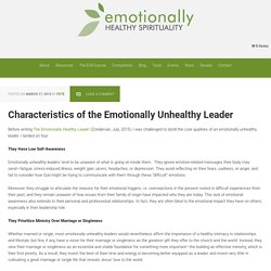Characteristics of the Emotionally Unhealthy Leader