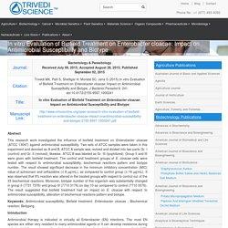 Mahendra Kumar Trivedi Biofield Treated Enterobacter Cloacae