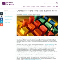 Characteristics of a sustainable business model