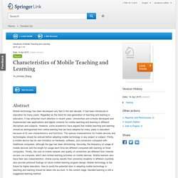 Characteristics of Mobile Teaching and Learning