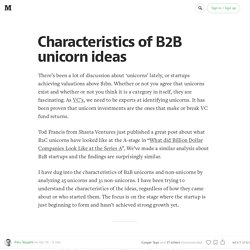 Characteristics of B2B unicorn ideas