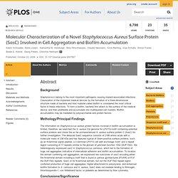 PLOS - NOV 2009 - Molecular Characterization of a Novel Staphylococcus Aureus Surface Protein (SasC) Involved in Cell Aggregatio