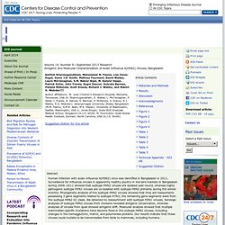 CDC EID - AOUT 2013 - Au sommaire:Antigenic and Molecular Characterization of Avian Influenza A(H9N2) Viruses, Bangladesh