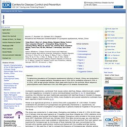 CDC EID – OCT 2011 - Prevalence and Molecular Characterization of Cyclospora cayetanensis, Henan, China.