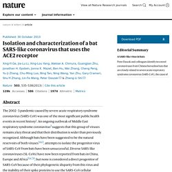 NATURE 30/10/13 Isolation and characterization of a bat SARS-like coronavirus that uses the ACE2 receptor