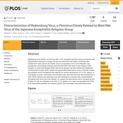 PLOS 19/06/12 Characterization of Rabensburg Virus, a Flavivirus Closely Related to West Nile Virus of the Japanese Encephalitis