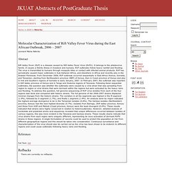 Kenyatta University (Kenya) - 2009 - Thèse en ligne : Molecular Characterization of Rift Valley Fever Virus during the East Afri
