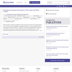 Publication meta-Phenotyping and Genotyping Characterization of Proteus vulgaris After Biofield Treatment - Publications