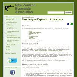 How to type Esperanto Characters - New Zealand Esperanto Association