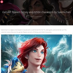 Gender flipped Disney and Ghibli characters by Sakimichan