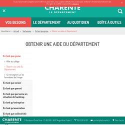 """Département de la Charente - Voir """"Coup de pouce pour les vacances"""""""