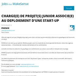 CHARGE(E) DE PROJET(S) JUNIOR ASSOCIE(E) AU DEPLOIEMENT D'UNE START-UP