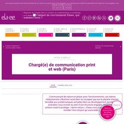 Chargé(e) de communication print et web (Paris) - Elaee
