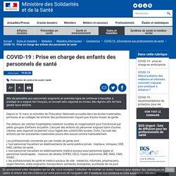 COVID-19 : Prise en charge des enfants des personnels de santé