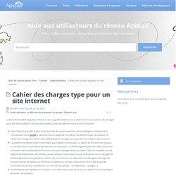 Cahier des charges type pour un site internet -Aide aux utilisateurs du réseau Apidae