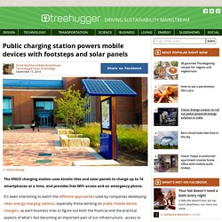 Public charging station powers mobile devices with footsteps and solar panels