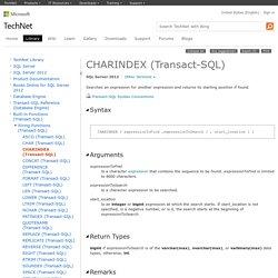 CHARINDEX (Transact-SQL)