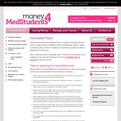 Charitable Trusts · Finding money · Money 4 Medstudents