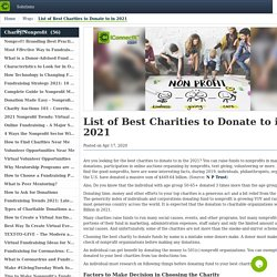 List of Best Charities to Donate Fund in 2019