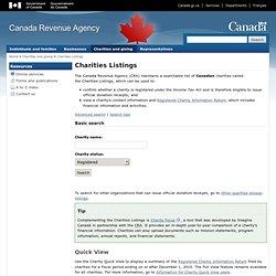 CRA - Charities Listings