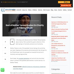 Best of Mother Teresa Quotes On Charity