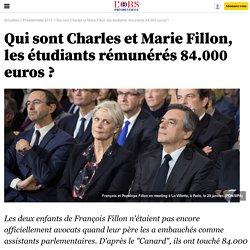 Qui sont Charles et Marie Fillon, les étudiants rémunérés 84.000 euros ?