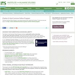 Charles G. Koch Summer Fellow Program | The Institute for Humane Studies