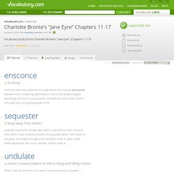 "Charlotte Bronte's ""Jane Eyre"" Chapters 11-17 - Vocabulary List"