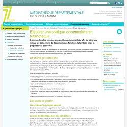 Élaborer une charte des collections - MDP77