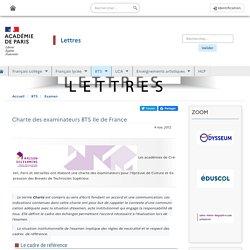 Charte des examinateurs BTS Ile de France