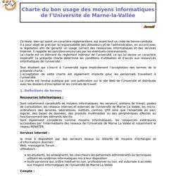 Charte Informatique de l'université