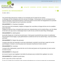 Maya Technologies Charte du Management