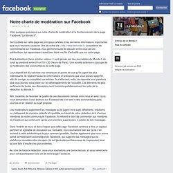 Notre charte de modération sur Facebook
