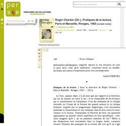 Roger Chartier Pratiques de la lecture (extrait)