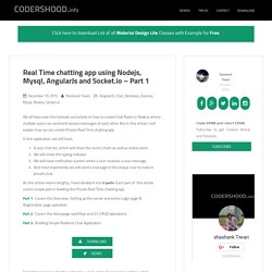 Real Time chatting app using Nodejs, Mysql, AngularJs and Socket.io – Part 1 - CodersHood
