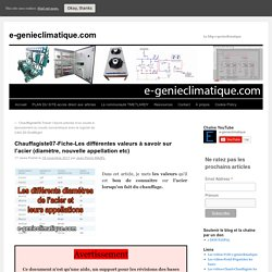 Chauffagiste07-Fiche-Les différentes valeurs à savoir sur l'acier (diamètre, nouvelle appellation etc)