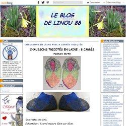CHAUSSONS EN LAINE AVEC 8 CARRÉS TRICOTÉS - Le blog de linou88