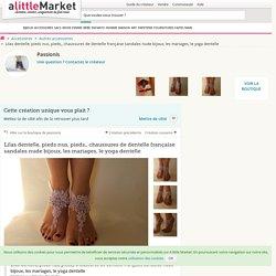 Lilas dentelle, pieds nus, pieds,, chaussures de dentelle française sandales nude bijoux, les mariages, le yoga dentelle : Autres accessoires par passionis