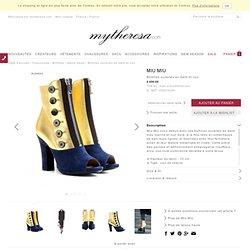 Bottines ouvertes en daim et cuir - talons hauts - Bottines - Chaussures - Luxe et Mode pour femme - Vêtements, chaussures et sacs de créateurs internationaux