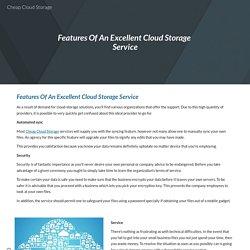 Cheap Cloud Storage