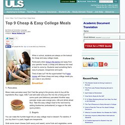 Cheap &Easy College Meals