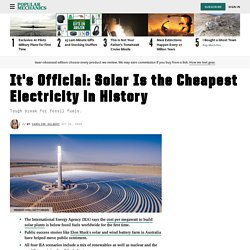 Solar Is Cheapest Energy: Renewable Energy vs. Fossil Fuels Cost