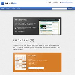 CSS Cheat Sheet (V2) - Added Bytes by Dave Child