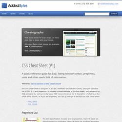 CSS Cheat Sheet (V1) - Added Bytes by Dave Child