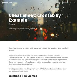Cheat Sheet: Crontab by Example