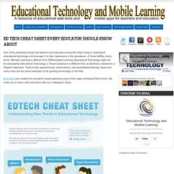 Educational Technology and Mobile Learning: ED Tech Cheat Sheet Every Educator Should Know about